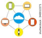 connected devices with cloud. | Shutterstock .eps vector #340012271