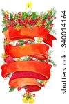 watercolor christmas wreath on... | Shutterstock . vector #340014164