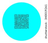 qr code. black outline flat... | Shutterstock . vector #340019261