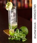 mojito cocktail shot on a bar... | Shutterstock . vector #340023785