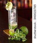 mojito cocktail shot on a bar... | Shutterstock . vector #340023785