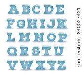 winter alphabet with snow cap... | Shutterstock .eps vector #340027421