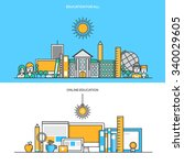 set of flat line color banners... | Shutterstock .eps vector #340029605