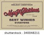 retro vintage merry christmas... | Shutterstock .eps vector #340048211