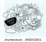 hand drawn monsters and cute... | Shutterstock .eps vector #340052831