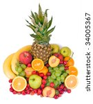 colorful fruits  isolated on... | Shutterstock . vector #34005367