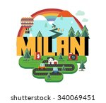 milan city in italy is a... | Shutterstock .eps vector #340069451