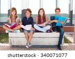 group of happy little school... | Shutterstock . vector #340071077