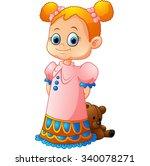 little girl with her doll | Shutterstock . vector #340078271