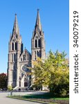 Small photo of PRAGUE, CZECH REPUBLIC - OCTOBER 31, 2015: neo-gothic St. Ludmila church (J. Mocker, 1888), Vinohrady district, Prague, Czech republic. It is a brick-made three-aisle basilica.