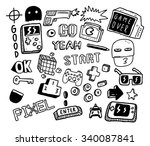 set of video games doodle  | Shutterstock .eps vector #340087841