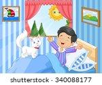 cartoon little boy woke up and... | Shutterstock .eps vector #340088177
