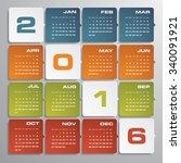 simple design calendar 2016... | Shutterstock .eps vector #340091921