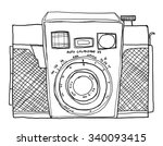 vintage camera 35mm  cute line... | Shutterstock . vector #340093415
