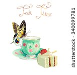 tea time. butterfly drinking... | Shutterstock .eps vector #340099781