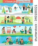banners with walking people and ... | Shutterstock .eps vector #340100321