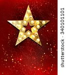 gold star with lights on red... | Shutterstock .eps vector #340101101