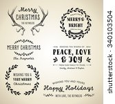 vintage christmas designs   set ... | Shutterstock .eps vector #340103504