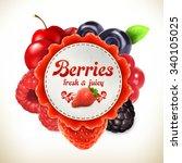 berries  vector label | Shutterstock .eps vector #340105025