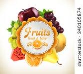 fruits  vector label   Shutterstock .eps vector #340105874