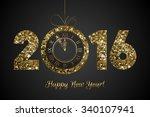 vector shiny 2016   happy new... | Shutterstock .eps vector #340107941