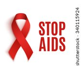 stop aids background.red ribbon. | Shutterstock . vector #340115924
