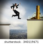 Determined Businessman Jumps...