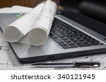 workplace of architect  ... | Shutterstock . vector #340121945