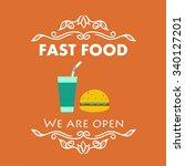 vintage fast food signage.... | Shutterstock .eps vector #340127201