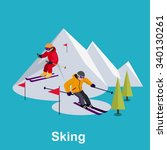people skiing flat style design.... | Shutterstock .eps vector #340130261