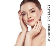 beautiful woman face close up... | Shutterstock . vector #340131521
