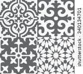 faux spanish kitchen tiles...   Shutterstock .eps vector #340134701