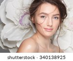 beautiful bride with wedding... | Shutterstock . vector #340138925