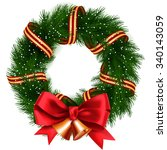 christmas wreath isolated | Shutterstock .eps vector #340143059