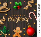 merry christmas greeting card... | Shutterstock .eps vector #340145981