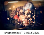employee grinding steel with... | Shutterstock . vector #340152521