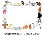 frame of cats | Shutterstock .eps vector #340159541