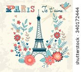 concept love card with eiffel... | Shutterstock .eps vector #340172444