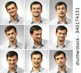collage of young man expressing ... | Shutterstock . vector #340174151
