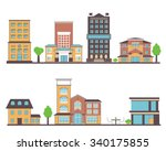 flat vector buildings set