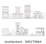 linear flat vector buildings set