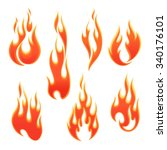 fire flames of different shapes ... | Shutterstock .eps vector #340176101