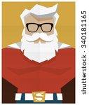 santa claus superhero retro... | Shutterstock .eps vector #340181165
