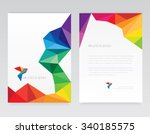 Creative abstract geometric multicolored letterhead template mockups with bird logo element in low poly style | Shutterstock vector #340185575