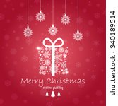 vintage christmas card with... | Shutterstock .eps vector #340189514