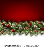 red card with fir branch and... | Shutterstock .eps vector #340190264
