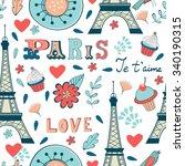 paris seamless pattern.... | Shutterstock .eps vector #340190315