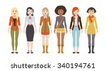 six different female characters.... | Shutterstock . vector #340194761