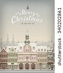 christmas card with cityscape...   Shutterstock .eps vector #340202861