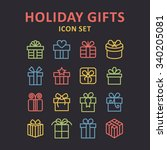 holiday gift icons  | Shutterstock .eps vector #340205081